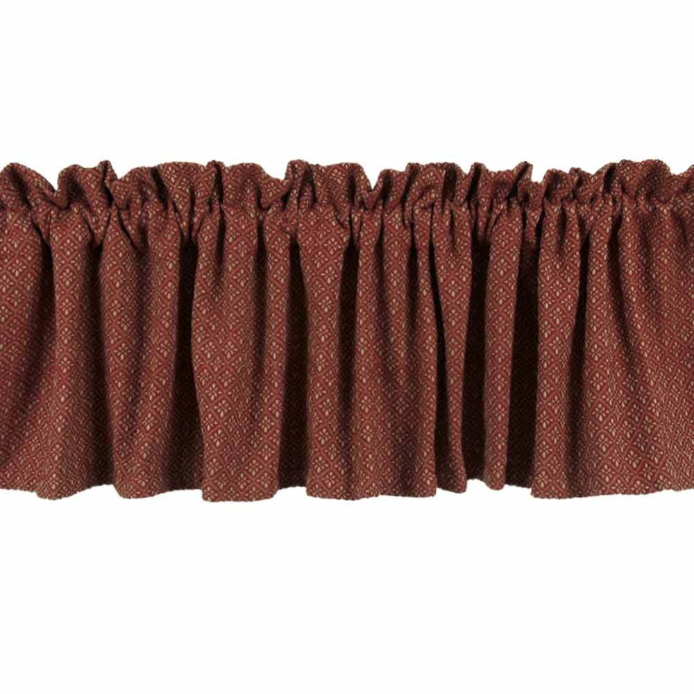Home Collections by RAGHU Burgundy PHILMONT JACQUARD Lined VALANCE