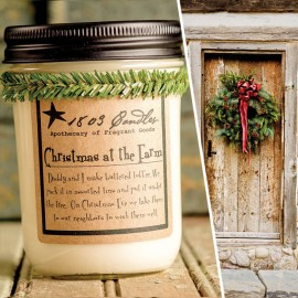 1803 Soy Candle CHRISTMAS at the FARM 14 oz. Jar  Toffee Cinnamon Nutmeg